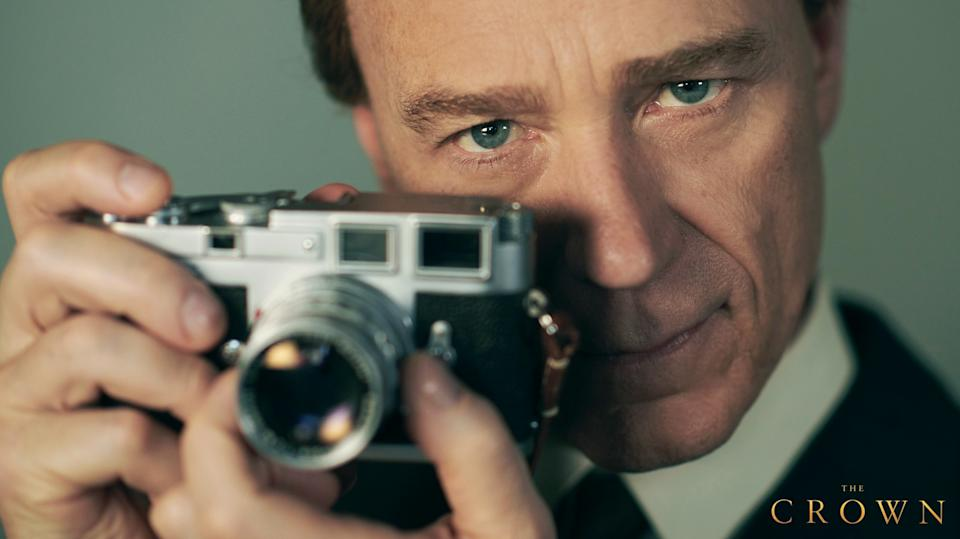 A photo of Ben Daniels as Lord Snowden, Princess Margaret's husband, on set of The Crown season three.
