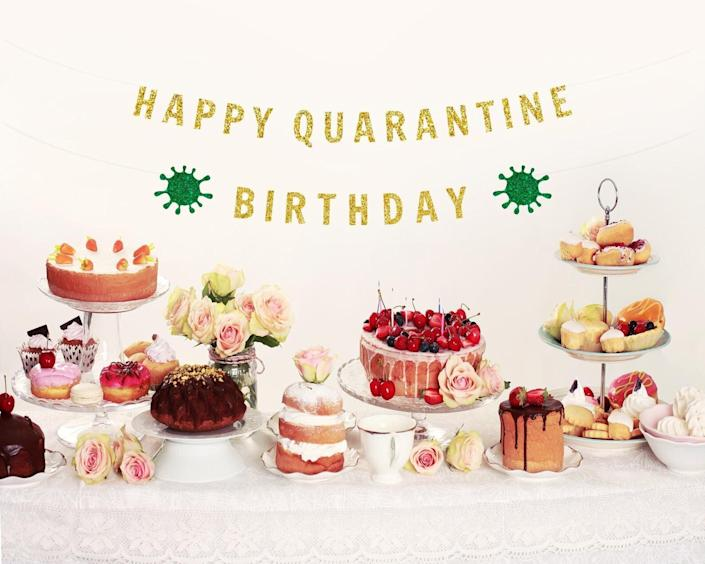 "Yeah, you've probably been to a <a href=""https://www.huffpost.com/entry/quarantine-birthday-gift-ideas-for-adults_l_5f108e02c5b6cec246bffd7c"" target=""_blank"" rel=""noopener noreferrer"">(virtual) birthday party </a>or two in recent months. Another trip around the sun is always a reason to celebrate, and birthdays are a bright spot in this strange year. While no one can really claim this was a <i>banner</i> year, this banner is one to remember. <a href=""https://fave.co/37LKP8b"" target=""_blank"" rel=""noopener noreferrer"">Find it starting at $25 on Etsy</a>."