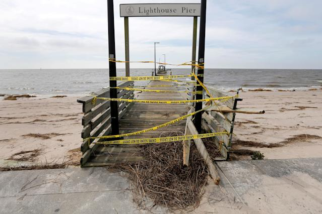 <p>Lighthouse Pier is seen damaged by Hurricane Nate, in Biloxi, Mississippi, U.S., October 8, 2017. (Photo: Jonathan Bachman/Reuters) </p>