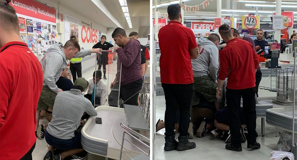 Coles workers and customers seen pinning the man to the ground.