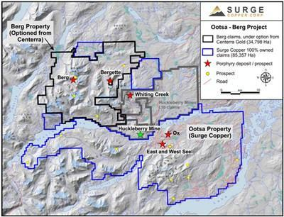 Figure 1. Map of the Huckleberry Mining District Showing the Berg and Ootsa Properties. (CNW Group/Surge Copper Corp.)