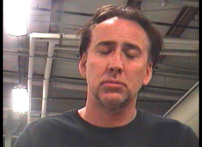 Here is actor Nicolas Cage after he was arrested for domestic battery in New Orleans at 6.33am on Saturday April 16. Police charged him with domestic abuse and disturbing the peace. Booking photo and report courtesy of Orleans Parish Sheriff's Office. (Splash)