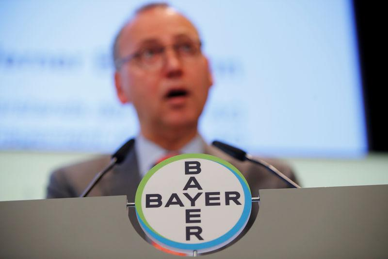 Werner Baumann, CEO of Bayer AG speaks during the annual results news conference of the German drugmaker in Leverkusen