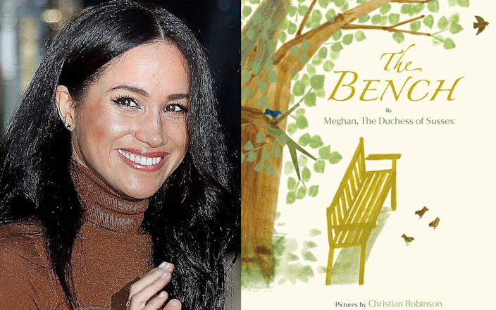 Meghan, the Duchess of Sussex and cover art for her upcoming children's book 'The Bench' - Random House