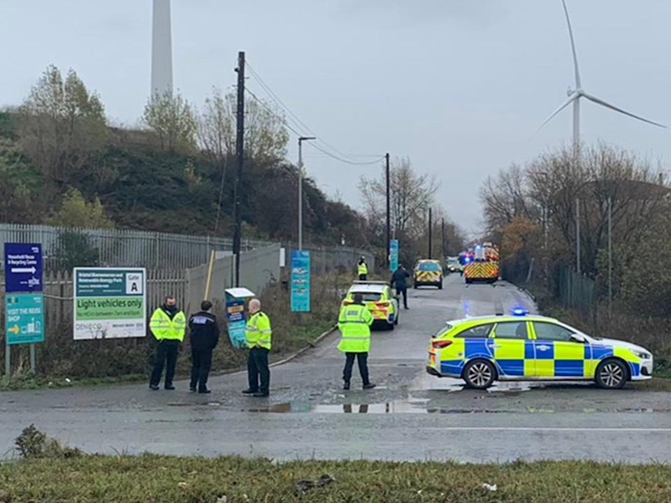 Police close off a road in Avonmouth, near Bristol, after a large explosion at a warehouse@jawadburhan98/Twitter/PA