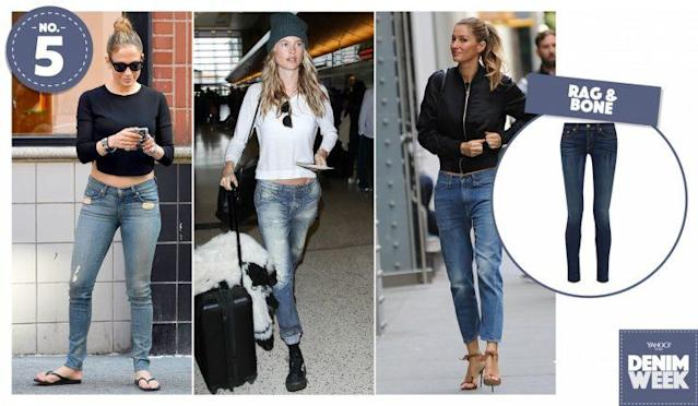 From left: Jennifer Lopez, Behati Prinsloo, and Gisele Bündchen wearing Rag & Bone out and about. (Photo, left to right: AKM-GSI, Getty, Splash News, Net-a-Porter)
