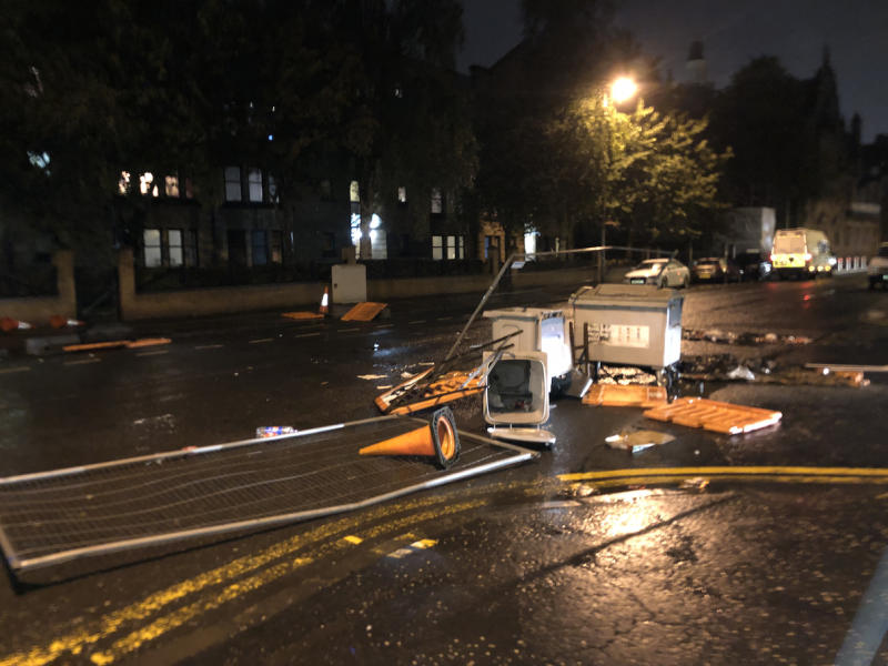 The aftermath of the trouble in Govan Road, Glasgow (Picture: PA)