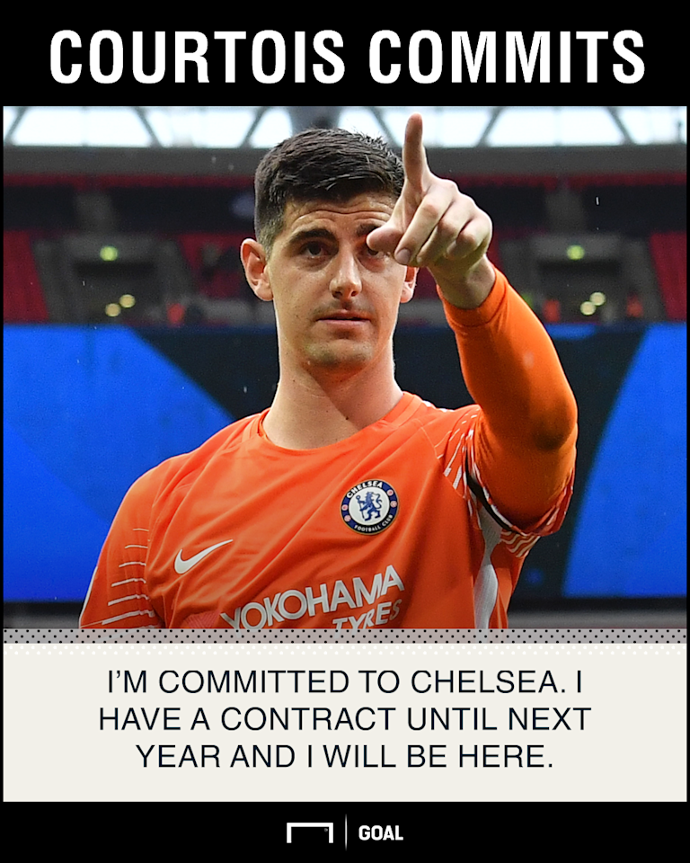 The Belgian goalkeeper continues to be linked with a move to Spain, but he has vowed to remain at Stamford Bridge for at least one more season