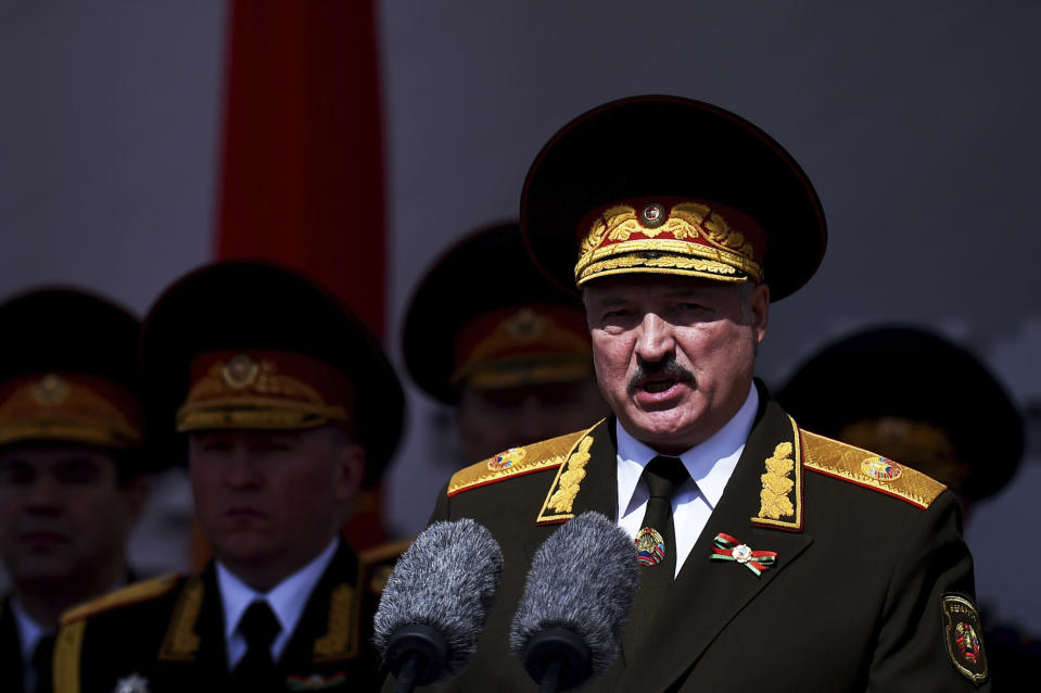 FILE - In this May 9, 2020, file photo, Belarusian President Alexander Lukashenko gives a speech during a military parade that marked the 75th anniversary of the allied victory over Nazi Germany, in Minsk, Belarus. When Lukashenko became president in 1994, Belarus was an obscure country that had not even existed for three years. Over the next quarter-century, he brought it to the world's notice via dramatic repression, erratic behavior and colorful threats. (Pool Photo via AP, File)