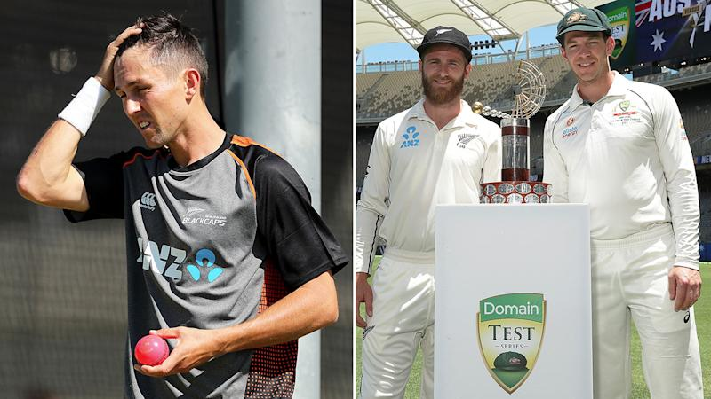 Trent Boult's absence will be a big hole to fill for New Zealand. Pic: Getty