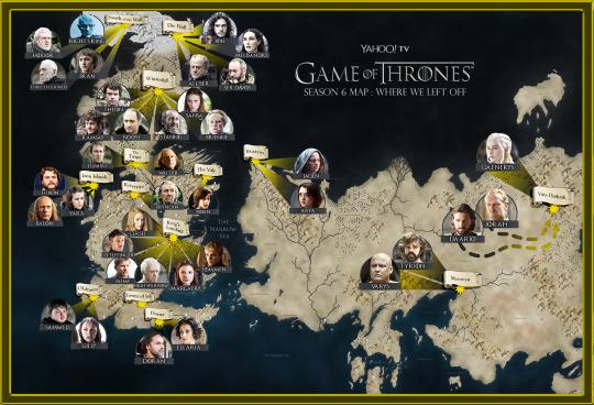Game of thrones map a catch up guide to where everyone is click here for the full resolution version of the map gumiabroncs Choice Image