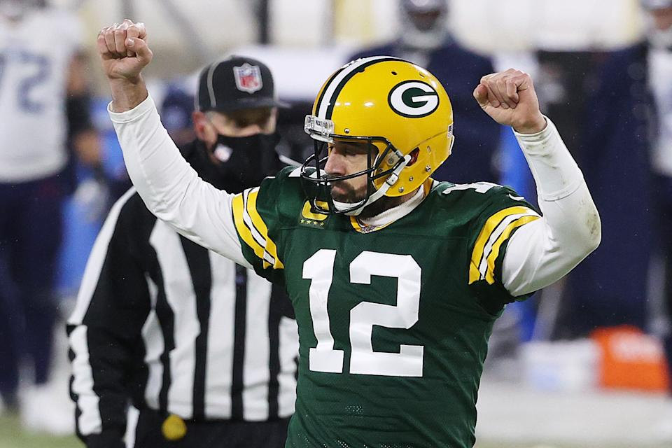 Packers quarterback Aaron Rodgers has overtaken Chiefs quarterback Patrick Mahomes as the betting favorite for NFL MVP. (Photo by Dylan Buell/Getty Images)