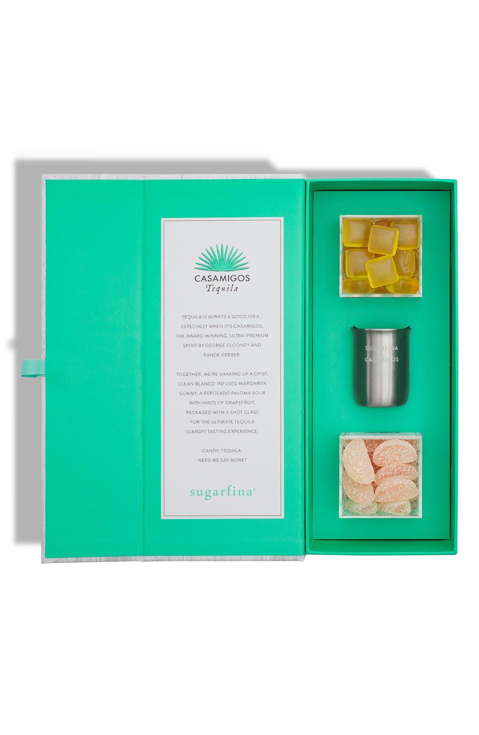 """<p><strong>SUGARFINA</strong></p><p>nordstrom.com</p><p><strong>$28.00</strong></p><p><a href=""""https://go.redirectingat.com?id=74968X1596630&url=https%3A%2F%2Fshop.nordstrom.com%2Fs%2Fsugarfina-3-piece-you-had-me-at-tequila-candy-bento-box%2F5045479&sref=https%3A%2F%2Fwww.cosmopolitan.com%2Flifestyle%2Fg32815611%2Fcare-package-ideas%2F"""" rel=""""nofollow noopener"""" target=""""_blank"""" data-ylk=""""slk:Shop Now"""" class=""""link rapid-noclick-resp"""">Shop Now</a></p><p>Tequila, but make it candy. These margarita- and paloma-flavored sweets will fuel her obsession with that agave juice. </p>"""