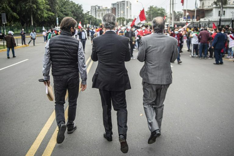 Demonstrators in Lima -- a Fujimori stronghold where she has strong support among the business elite -- join a rally supporting the right-wing candidate