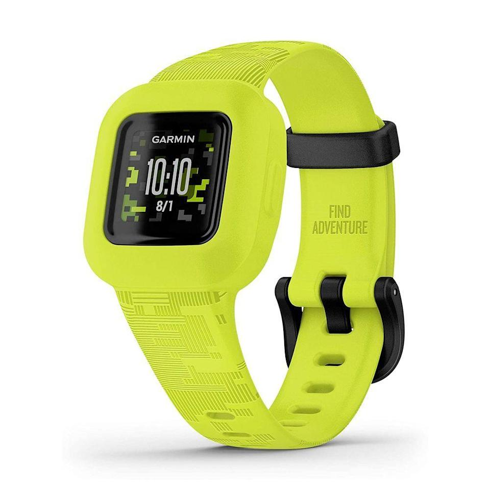 "<p><strong>Garmin</strong></p><p>amazon.com</p><p><strong>$59.99</strong></p><p><a href=""https://www.amazon.com/dp/B08JX26GF7?tag=syn-yahoo-20&ascsubtag=%5Bartid%7C10063.g.35029603%5Bsrc%7Cyahoo-us"" rel=""nofollow noopener"" target=""_blank"" data-ylk=""slk:Shop Now"" class=""link rapid-noclick-resp"">Shop Now</a></p><p>The vívofit jr. 3 from Garmin is a waterproof fitness tracker that helps get your little one up and moving. It tracks steps, their sleep, and records their active minutes to help them form positive habits. Parents can set daily activity goals, customize an ""in case of emergency"" screen with their contact information, and participate in fitness challenges using fitness trackers of their own.</p><p>The watch even gives you the option to send customizable alerts and chores lists to the device, and you can reward your child with virtual coins for completing goals, fitness or otherwise! The vívofit jr. 3's built-in battery lasts for a year.</p>"