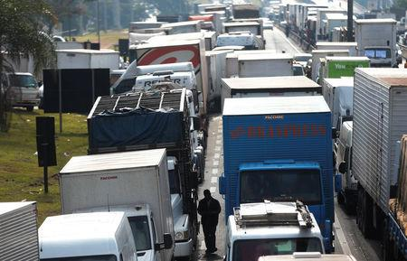 Truckers attend a protest against high diesel fuel prices at BR-116 Regis Bittencourt highway in Sao Paulo