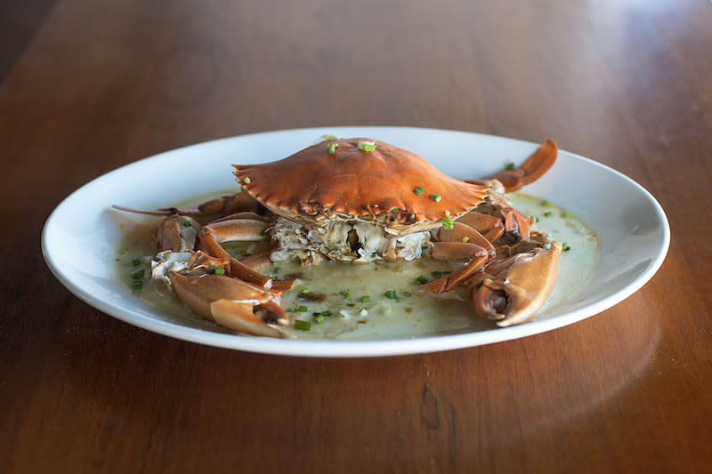 Whole steamed crab with egg white. Photo: Pince & Pints