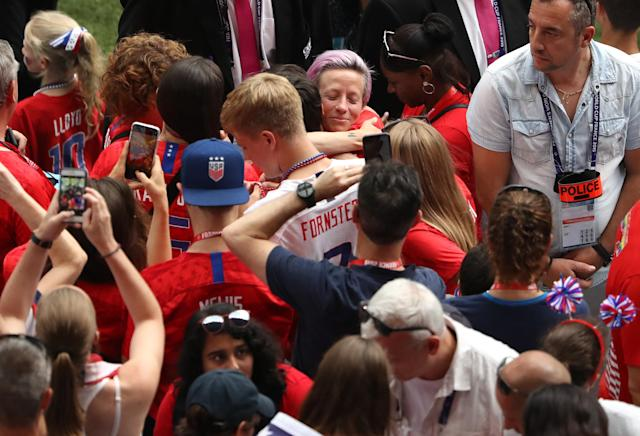 Megan Rapinoe of the USA celebrates with friends and family following her team's victory in the the 2019 FIFA Women's World Cup France Final match between The United States of America and The Netherlands at Stade de Lyon on July 07, 2019 in Lyon, France. (Photo by Robert Cianflone/Getty Images)