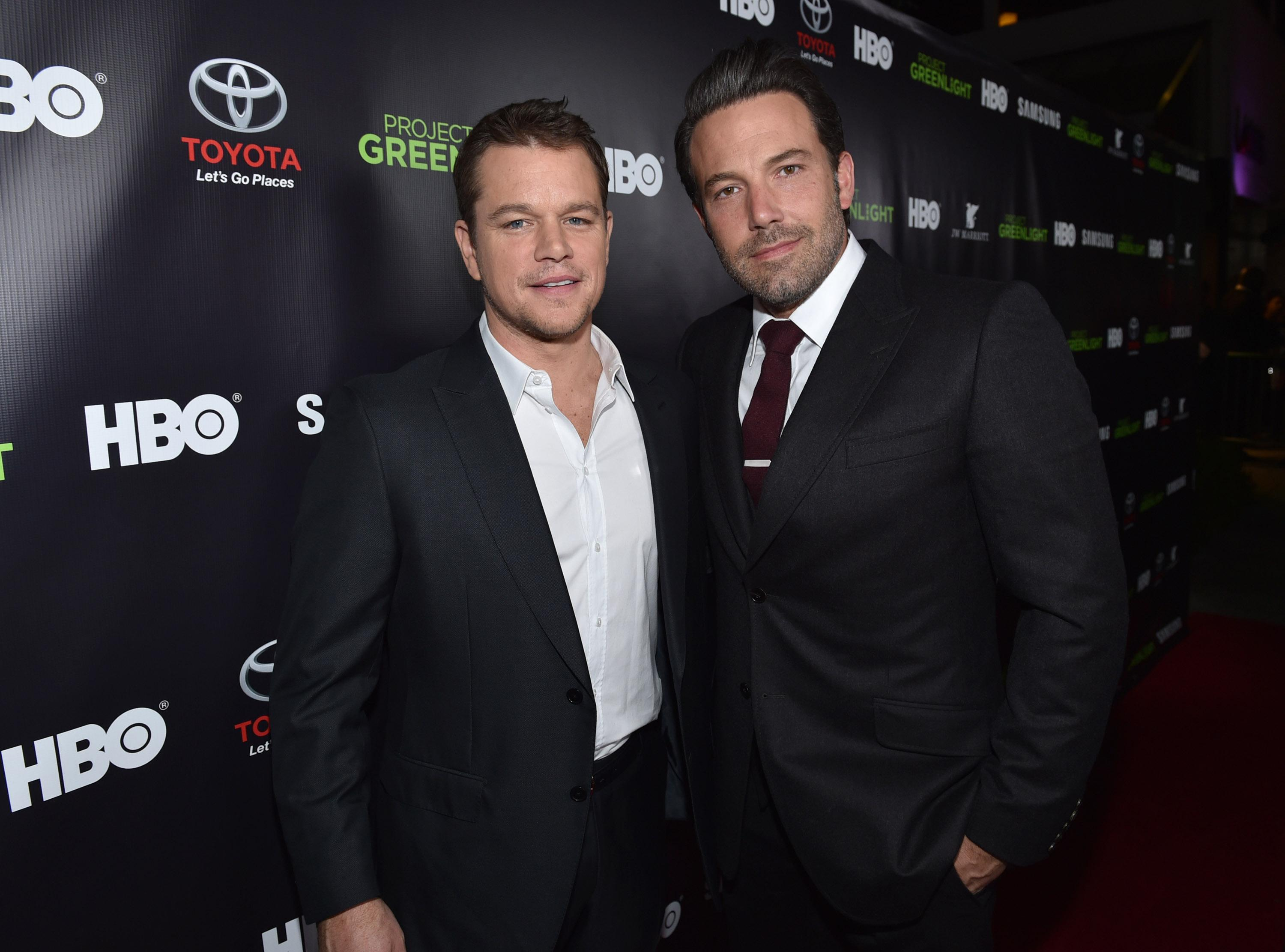 Matt Damon and Ben Affleck are seen at the HBO Project Greenlight Filmmaker Showcase on Friday, Nov. 7, 2014 in Hollywood, Calif. (Photo by John Shearer/Invision for HBO/AP Images)