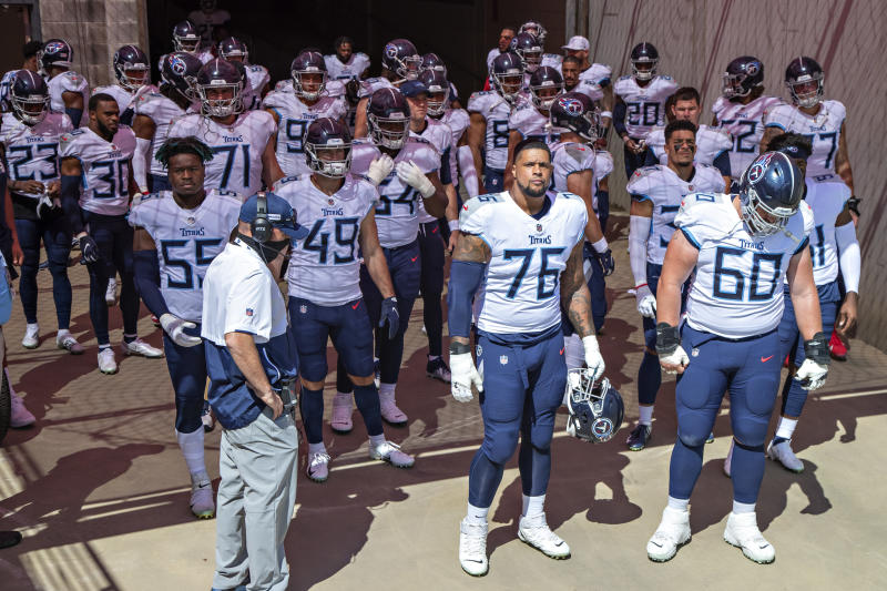 NASHVILLE, TN - SEPTEMBER 20: The Tennessee Titans prepare to run onto the field before a game against the Jacksonville Jaguars at Nissan Stadium on September 20, 2020 in Nashville, Tennessee. The Titans defeated the Jaguars 33-30. (Photo by Wesley Hitt/Getty Images)
