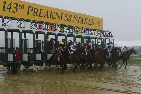 May 19, 2018; Baltimore, MD, USA; A general view of the start gate during the 143rd running of the Preakness Stakes at Pimlico Race Course. Mandatory Credit: Tommy Gilligan-USA TODAY Sports