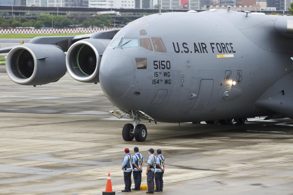 A U.S. military aircraft carrying a group of U.S. senators arrive at the Songshan Airport in Taipei, Taiwan on Sunday, June 6, 2021. The bipartisan group of three U.S. senators arrived in Taiwan to meet with senior government officials and discuss U.S.-Taiwan relations and other issues in a trip that is likely to anger China, which claims Taiwan as its territory and objects to Taiwan being called a country. (Pool Photo via AP)