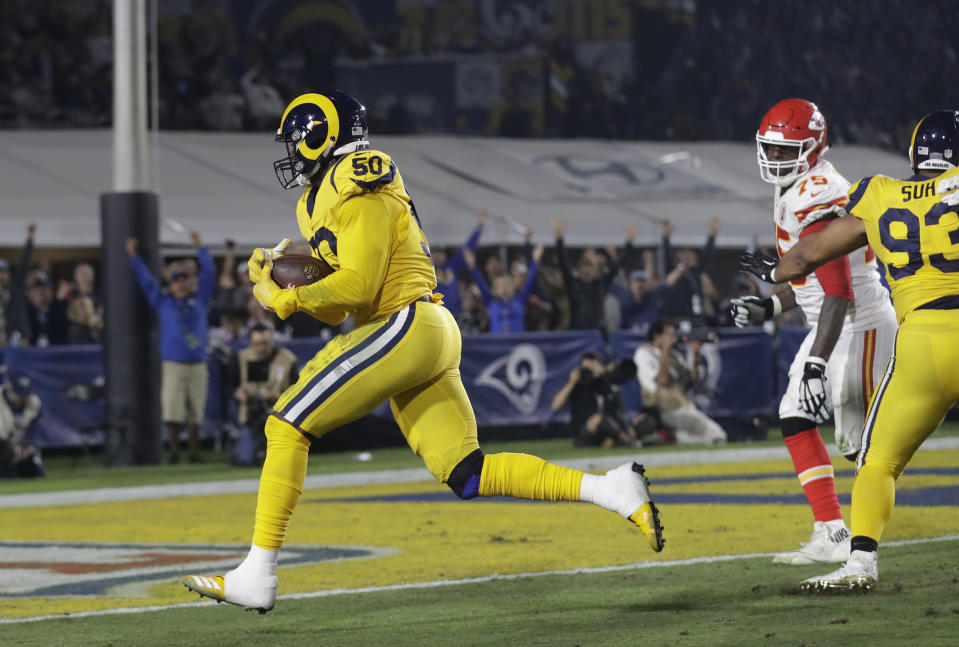 Rams outside linebacker Samson Ebukam (50) scores one of two defensive touchdowns on Monday night against the Chiefs. (AP)
