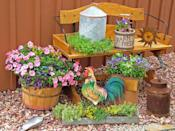 """<div class=""""caption-credit"""">Photo by: Nancy Ondra</div><div class=""""caption-title"""">On the Farm</div>Bring a touch of country charm to your deck, porch or patio with a grouping of farm-related containers, such as bushel baskets, wooden crates and berry boxes. Feeders, waterers, buckets, feed scoops and other livestock-related items offer other planting possibilities."""