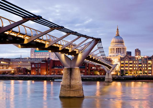 Looking at Saint Paul's and the Millennium Bridge in London. - Photograph by Philip Cozzolino , My Shot