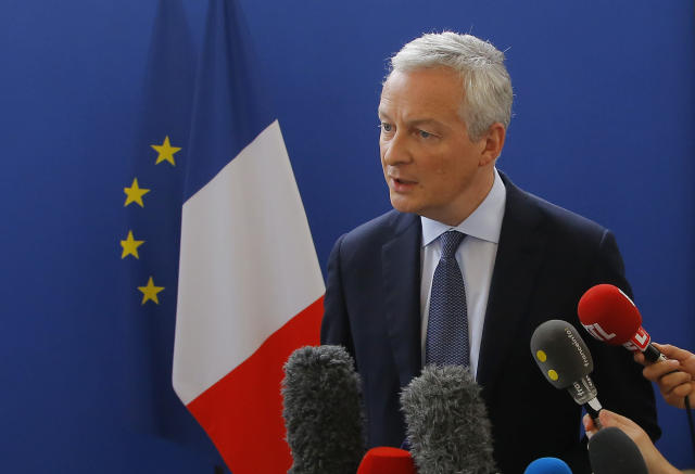 """French Finance Minister Bruno Le Maire speaks to the media during a press conference at the finance ministry in Paris, France, Saturday, July 27, 2019. After Trump slammed the """"foolishness"""" of the tax in a tweet Friday and promised reciprocal action, French Finance Minister Bruno Le Maire said """"France will implement"""" it anyway. (AP Photo/Michel Euler)"""