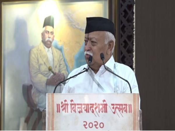 RSS chief Mohan Bhagwat addressing the Vijay Dashmi event in Nagpur. (Photo/ANI)