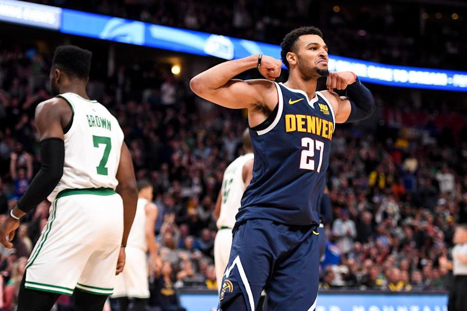 Denver Nuggets guard Jamal Murray flexed on the Boston Celtics. (Getty Images)