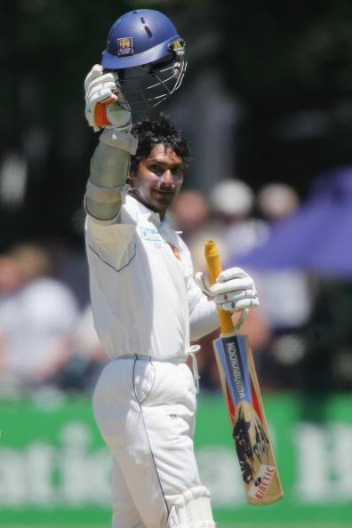 WELLINGTON, NEW ZEALAND - DECEMBER 15: Kumar Sangakkara of Sri Lanka celebrates his century during day one of the second test match between New Zealand and Sri Lanka at the Basin Reserve December 15, 2006 in Wellington, New Zealand.      (Photo by Marty Melville/Getty Images)