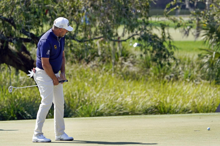 Lee Westwood, of England, reacts as a birdie putt on the second green comes up short of the cup during the final round of the Arnold Palmer Invitational golf tournament Sunday, March 7, 2021, in Orlando, Fla. (AP Photo/John Raoux)