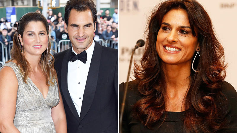 Gabriela Sabatini, pictured here discussing Roger and Mirka Federer.