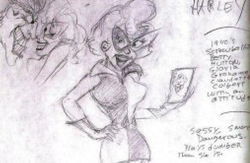 "Dini's original Harley Quinn sketch refers to her as a ""1940s screwball, Betty Hutton, Gloria Grahame, Claudette Colbert with an attitude."" (Image: Paul Dini/Warner Bros.)"