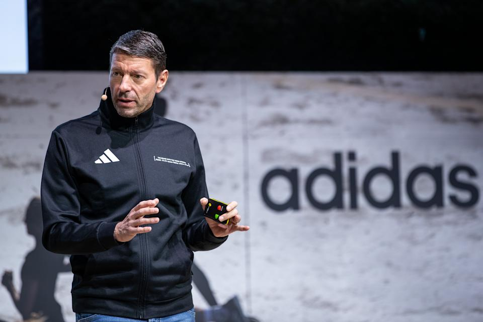 Kasper Rorsted, chairman of German sporting goods maker Adidas, speaks during his company's annual press conference on March 13, 2019 in Herzogenaurach, Germany. (DANIEL KARMANN/DPA/AFP via Getty Images)