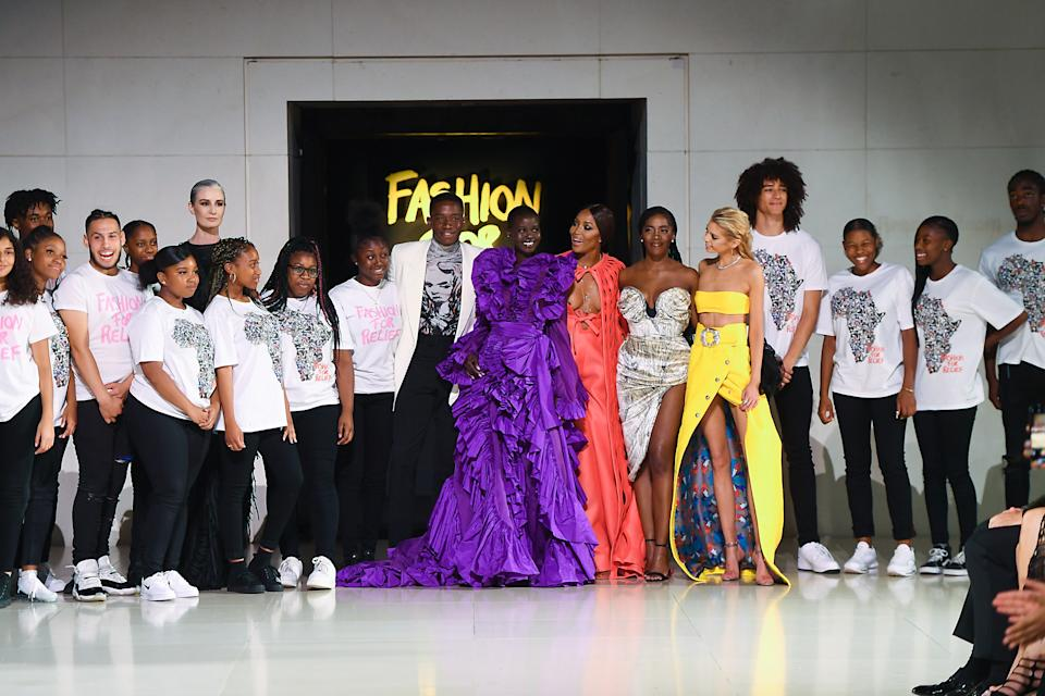 Damson Idris, Adut Akech, Naomi Campbell and Stella Maxwell at the finale of the Fashion For Relief catwalk show [Photo: Getty Images]