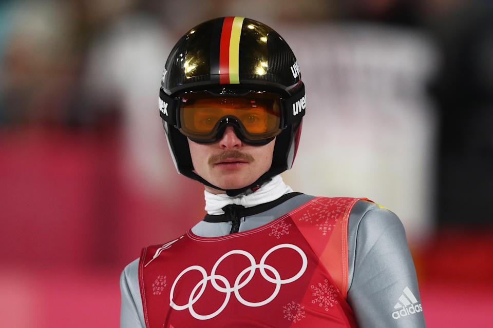 <p>Richard Freitag can take credit for helping Germany over the line for the silver medal in the men's ski jumping team event. But as capable as Freitag might be in the air, we'll always appreciate him for the fine patch of face fur he sports between his nose and upper lip.(Getty) </p>