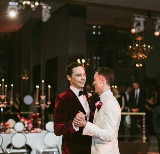 Just married! Jim Parsons and Todd Spiewak. (Photo: Amber Gress Photographer/Jim Parsons via Instagram)