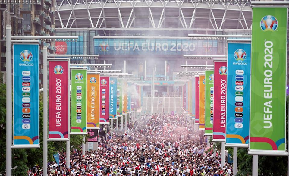 England fans congregated along Wembley Way hours ahead of the big game (Zac Goodwin/PA) (PA Wire)