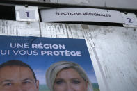 Electoral campaign boards for northern France region with Sebastien Chenu and Marine Le Pen, French far- right leader, in Henin-Beaumont, northern France, Friday, June 25, 2021. Marine Le Pen's far right party is riding high on her tough-on-security, stop-immigration message as French voters start choosing regional leaders Sunday in an election that's seen as a dress rehearsal for next year's presidential vote. (AP Photo/Michel Spingler)