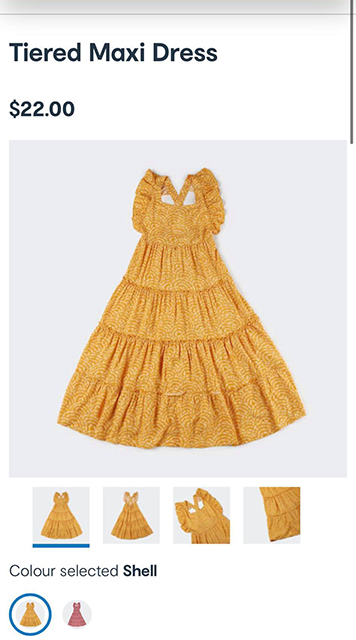 Image of product info for Kmart Tiered Maxi Dress for kids