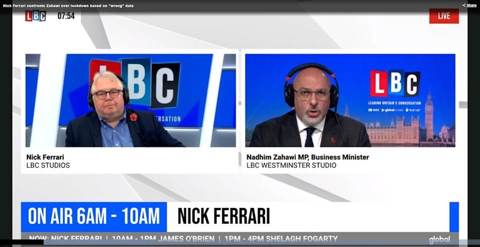 Nick Ferrari challenged MP Nadhim Zahawi on the government's decision to quietly alter data that had been presented in Saturday's press conference (LBC.co.uk)