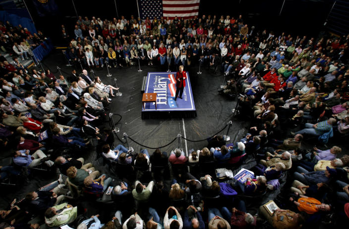 <p>Democratic presidential hopeful Sen. Hillary Rodham Clinton of N.Y., addresses a campaign event in a high school gym in Hampton, N.H., in April 2007. (Photo: Jim Cole/AP)</p>