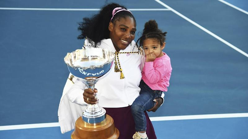 Serena Williams and daughter Alexis Olympia Ohanian Jr. celebrate her ASB Classic win
