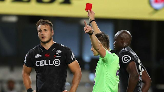 Andre Esterhuizen was banned for a dangerous tackle in 2015 and faces another long absence following his red card against the Rebels.