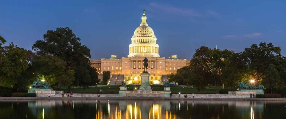 The US Capitol building in Washington DC, in the evening after sunset.