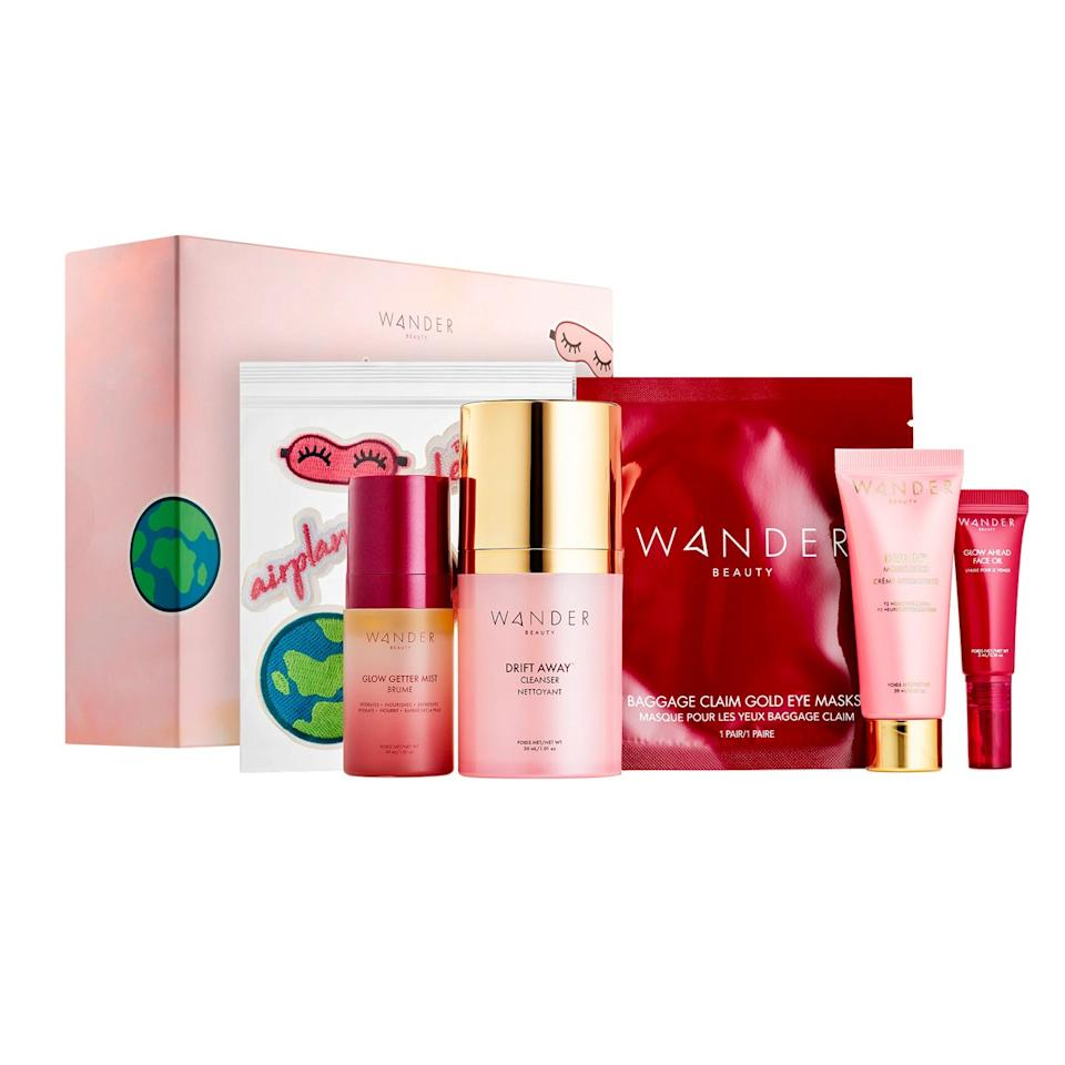 """A skin care routine should never feel like a chore, especially when traveling. For less than $50, this gift set takes the stress away from packing (and forgetting) the essentials. It includes everything she'll need on vacay, and then some: cleanser, moisturizer, face oil, mist, eye mask, and little stickers to decorate the case—though you may want to keep those for yourself. $49, Sephora. <a href=""""https://www.sephora.com/product/wander-beauty-airplane-mode-skincare-kit-P452278"""">Get it now!</a>"""