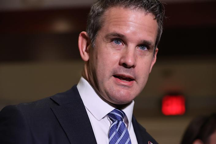Rep. Adam Kinzinger, R-Ill., talks to reporters following a House Republican Conference meeting in the U.S. Capitol Visitors Center on Wednesday.